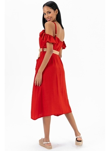 Emjey Askılı Yaka Farbalı Cepli Elbise Kırmızı